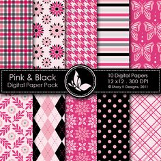 Pink & Black  This listing is for 10 printable High Quality Digital papers.    Each paper measures 12 x 12 inch, 300 DPI, JPEG format.    Great for scrapbooking, making cards, invitations, tags and photographers.