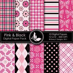 digital papers, pink and black printables, dream pink, color, hot pink, digit paper, thing pink, pink black