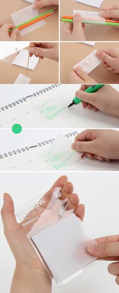 I can't imagine my life anymore without the Tracing Sticky Note. This sticky note is made with a transparent paper, and I can easily apply it anywhere and trace the source on the bottom! I even use it to write notes on my book without damaging the book; it keeps the book clean and I can easily take it off when no longer necessary.