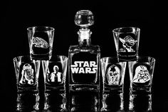 It's five o'clock somewhere in the galaxy, so drink up. And when you do, drink from this beautiful Star Wars Glass Whiskey Decanter Set. It's perfect for any home, office or armored space station. It can be personalized too. It makes a great gift for yourself or another Star Wars fan.  Great for a wedding gift, groomsmen gift, housewarming gift, birthday gift, fathers day gift and more.  Decanter is Crystal-Lead Free High quality European glass Decanter holds 17 oz. (500 ml) Glasses 6 3/...