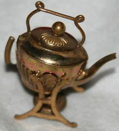 RARE Antique Figural Tipping Tea Pot Tape Measure Brass Novelty ...