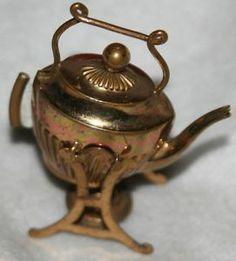 RARE Antique Figural Tipping Tea Pot Tape Measure Brass Novelty ...