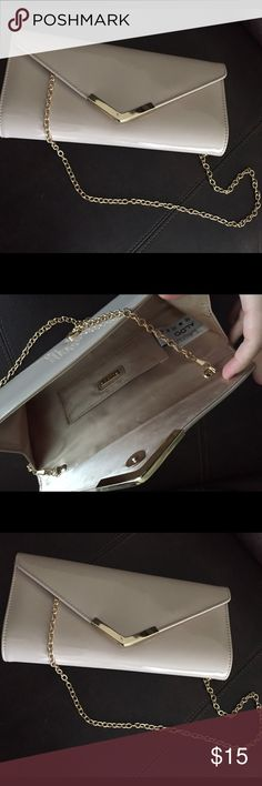 "Aldo Clutch w/ chain Listing is for bag only.  Nude patent leather w/ gold trim.  Envelope style.  Approx 10"" x 5"".  Also  selling matching shoes and necklace as seen in last photo.  You Can bundle together and save!! Aldo Bags Clutches & Wristlets"