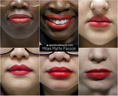 A Positive Beauty: Milani Moisture Matte Passion Swatch on different skin tones. A full review of Milani's 2015 Moisture Matte Lipsticks only on apositivebeauty.com!   #lipsticks #Milani #beautyreviews #makeup