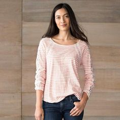 REPERTOIRE TOP - Stripes and lace perform together beautifully in this shaped, cotton top. Lace sleeves and seaming detail, rounded hem, raw edges.