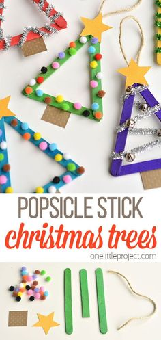 I've got to start using popsicle sticks more, because these Christmas trees were great! Once you make the tree, the sky is pretty much the limit in terms of how you decorate them! You can use buttons, ribbon, pipe cleaners, pom poms, even rhinestones to dress them up! It's a simple holiday craft that's great for kids of all ages!