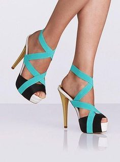 Amazing High Heels Arrivals - Mint Black and Gold Color Combination
