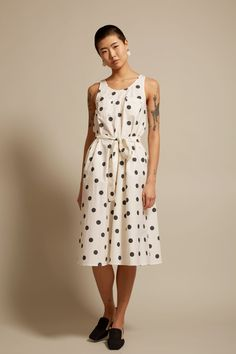 No.6 Avery Two Pocket Dress in Large Dot White Poplin