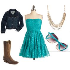 Dress cowgirl look Outfits Teenager Mädchen, Teen Girl Outfits, Outfits For Teens, School Outfits, Country Western Dresses, Country Outfits, Country Prom, Country Style, Polyvore Outfits