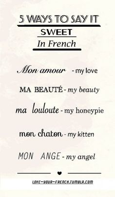 5 ways to say sweet nicknames in #french. french sites to visit #languagelessons
