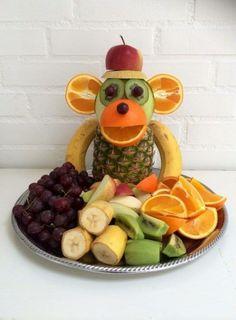 """Monkey Food"" - Kreamors Küche - Gesund - Mary's Secret World - Cute Food, Good Food, Monkey Food, Monkey Monkey, Party Food Buffet, Fruit Buffet, Fruit Creations, Creative Food Art, Creative Ideas"