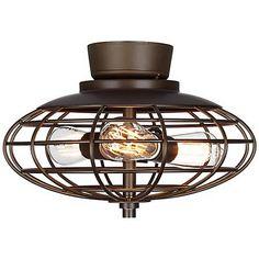 Oil Rubbed Bronze Industrial Cage 3-60 Watt Ceiling Fan Light Kit - #Y2846-U8886 | LampsPlus.com