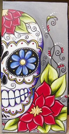 Sugar Skull on Canvas- day of the dead craft idea One step further than what I did this year half a skull with decorative background