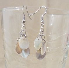Natural Shell Disc Dangle Earrings by Pizzelwaddels on Etsy, $4.98