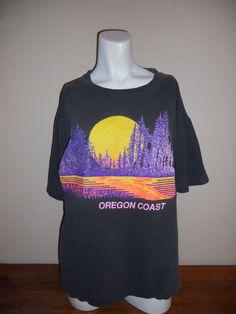 Vintage tee t shirt faded blk black Oregon by ATELIERVINTAGESHOP