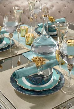 Aquamarine is a refreshing, happy hue perfect for a summer tablescape. Wow your guests with dining inspiration designed where this color has a starring role.