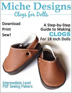 Miche+Designs+Clogs+Doll+Shoe+Pattern+for+18+by+PixieFairePatterns,+$3.99