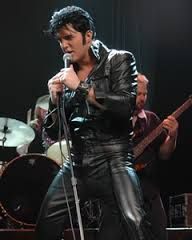 Ryan Pelton, a Vegas tribute artist rending homage to the great rock & roll star Elvis Presley. Outstanding face features for an Elvis impersonator.