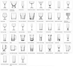 Types of glasses and which drink should be used in each.