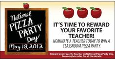 We're giving away pizza parties to honor our customers' favorite teachers and to celebrate National Pizza Party Day! Nominate a teacher at garlicjims.com.