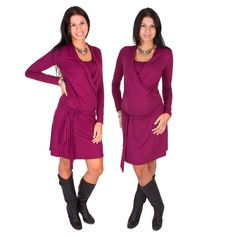 Viva la Mama | Nursing dress LISETT (bordeaux). A great gift for Valentine's Day, birth or baby shower! This enchanting knee-length breast feeding dress charms everybody with its Cache-Coeur neckline which is beautiful but also functional for discreet nursing. With its integrated sash to be knoted below the belly the dress is perfect for mummys with or without baby bump. It can be varied for different occasions, from elegant to casual.