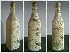Botella Seagrams, pintada con chalk paint y decorada con decoupage blanco y negro. #botelladecorada #decoratedbottle
