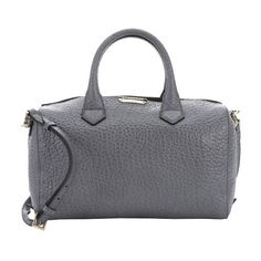 Burberry Grey pebbled calfskin medium 'Alchester' convertible bowling... ($1,275) ❤ liked on Polyvore