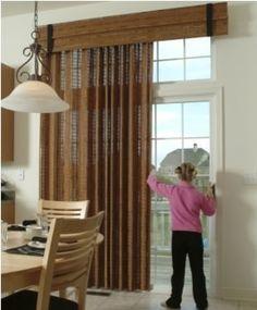 Sliding Glass Door Covering - Eclectic - Window Treatments - Newark - by Beautiful Interiors Design Group Glass Door Coverings, Patio Door Coverings, Patio Door Valance Ideas, Window Coverings, Sliding Door Window Treatments, Valance Window Treatments, Window Cornices, Eclectic Window Treatments, Eclectic Windows