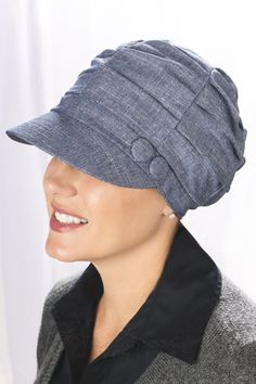 shirred newsboy cap for cancer patients with pleated top. Headcover.com for 16.99