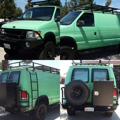 Love this mint green Ford van loaded with #aluminess gear! #vanlife…