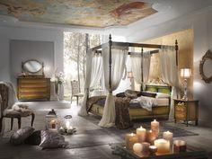 Ambienti impreziositi da pezzi unici, uno stile principesco per una camera da letto nella quale vivere le proprie emozioni.