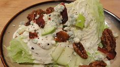 The On-Call Cook: Bleu cheese Wedge salad Johnny Carinos YUM Wedge Salad Recipes, Salad Dressing Recipes, Candied Pecans For Salad, Cheese Wedge, Blue Cheese, Cooking Recipes, Healthy Recipes, Yummy Recipes