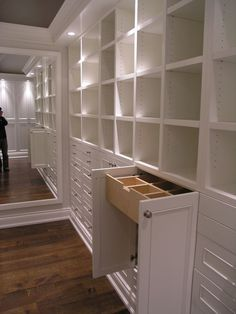 Closets- I like the boxes for purses & shoes and the drawers for jewelry & socks & such