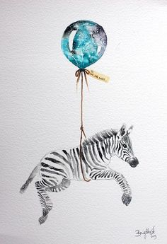 Illustration by Brigitte May Art And Illustration, Ballon Illustration, Illustrations, Watercolor Animals, Watercolor Paintings, Watercolour, Animal Drawings, Art Drawings, Arte Sketchbook