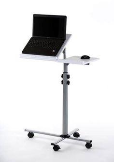 Laptoptisch-Stehpult-Rednerpult-weiss-2-Platten-hoehenverstellbar-Rollen-Top