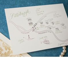 Pittsburgh illustrated custom wedding map www.copperwillow.com