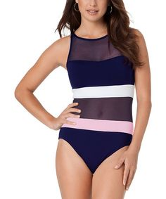 Love this Navy & Coral Mesh Stripe One-Piece on #zulily! #zulilyfinds