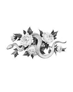 Belly Tattoos, Body Art Tattoos, Small Tattoos, Snake And Flowers Tattoo, Snake Tattoo, Flower Tattoo Designs, Flower Tattoos, Bauch Tattoos, Island Tattoo