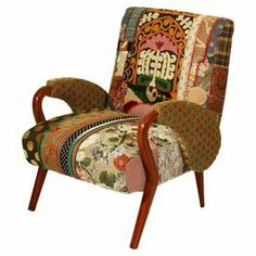 Arm chair with patchwork upholstery and a wood frame. Handcrafted in Lebanon.