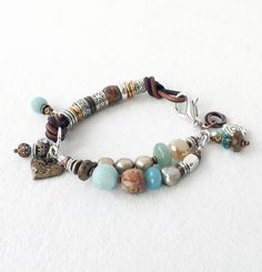 Brown Leather Semiprecious Stone Bracelet Trending Aqua Boho Bohemian Southwest Stacking Jewelry Freshwater Pearls Silver Copper Brass by connectionsbymaya on Etsy https://www.etsy.com/listing/216468758/brown-leather-semiprecious-stone