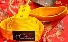 This unique dog leash is the ORIGINAL leash created from a recycled martial arts belt. The UpCycled Hound leash features solid brass or nickel quality hardware, generous hand loop, hand-friendly smooth cotton fabric, good width, industrial strength. The stitching is super strong and won't tear or rip apart. Our leash is guaranteed against defects and to withstand the tug and pull of your dog but not the damage from canine teeth. �Color = YELLOW