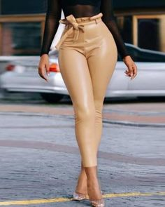 Paperbag Waist PU Slinky Pants Women's Best Online Shopping - Offering Huge Discounts on Dresses, Lingerie , Jumpsuits , Swimwear, Tops and More. Trend Fashion, Fashion Pants, Look Fashion, Womens Fashion, Photographie Blonde, Cheap Shoes Online, Pants For Women, Clothes For Women, Bell Bottom Pants