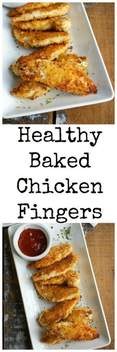 Healthy Baked Chicken Fingers are oven baked to create a healthier tender. The panko crust is crunchy and has good flavor from the spices. These are a kid and adult favorite! // A Cedar Spoon