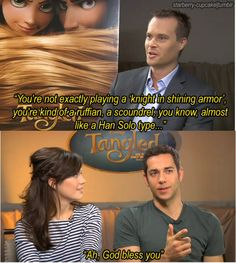 This is why I love Zachary Levi. He's the biggest nerd ever. Tangled and Star Wars. It's just beautifu