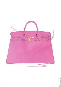 Pink Hermes Birkin bag illustration by RKHercules