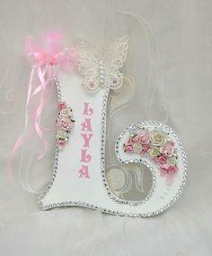Large letter for nursery, large wooden letter, name plaque, nursery decor, girls room decor, large decorative letter, babies room decor, by Aligri on Etsy
