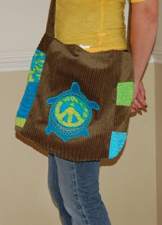 Hippie  Patchwork Purse  Love Turtles by redpatchdesign on Etsy, $55.00