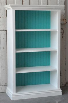 Bookcase in Distressed White and Teal. Love this maybe change up coloring but loving the back side wall on the book shelves def would tie in with other parts of the house! Furniture Projects, Furniture Makeover, Home Projects, Diy Furniture, Bookcase Makeover, Nursery Furniture, White Furniture, My New Room, My Room
