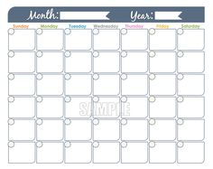 Blank Month Calendar Version  Printable  Printables