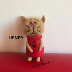 Henry the Needle Felted Little Cat. Needle Felted Cat, Needle Felted Animals, Felt Animals, Unusual Animals, Colorful Animals, Felt Gifts, Quirky Gifts, Cat Lover Gifts, Cat Lovers